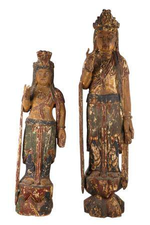 TWO CHINESE POLYCHROMED CARVED WOOD FIGURES