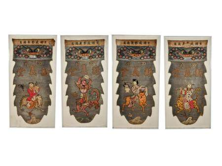 FOUR CHINESE THREADWORK PANELS