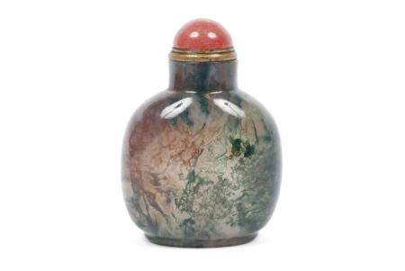 SUPERB DENDRITIC MOSSY AGATE SNUFF BOTTLE