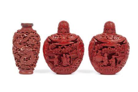 PAIR OF CHINESE RED LACQUER SNUFF BOTTLES