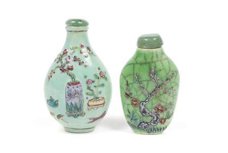 TWO CHINESE PORCELAIN ENAMELED SNUFF BOTTLES
