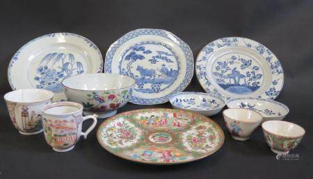 A 19th Century Cantonese Famille Rose Plate (20cm diam.) and other Chinese porcelain. All A/F