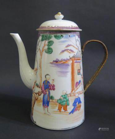 An 18th Century Chinese Porcelain Coffee Pot with old repairs and other faults, 25cm high