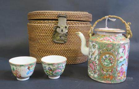 A 19th Century Cantonese Famille Rose Teapot and Bowl in original case