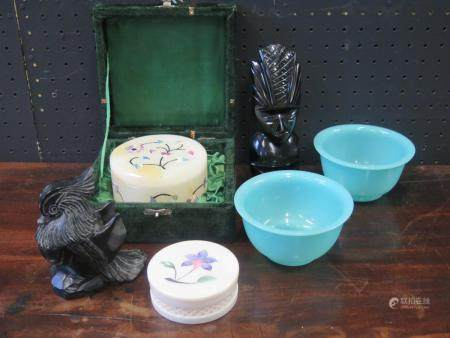 A Soapstone Mandarin Duck, pair of Peking glass bowls, two modern pietra dura boxes and carved