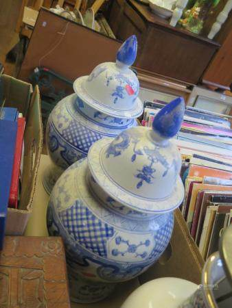 A Pair of Modern Chinese Blue and White Vases (c. 43cm) with covers, two other vases and pair of