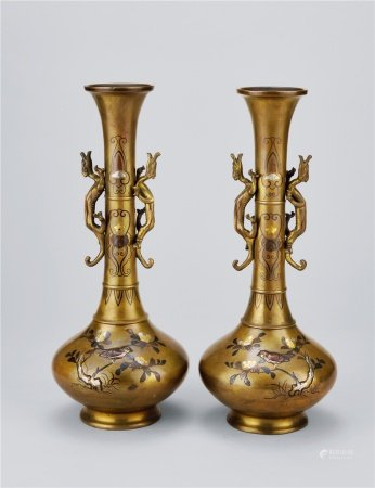 铜製金银镶嵌花鸟纹双龙瓶一对