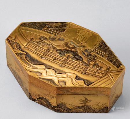 金莳绘宝船纹盒
