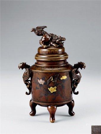 铜嵌金银花鸟纹香炉