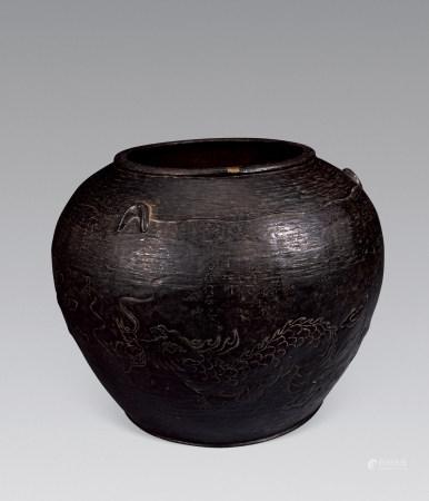 明珍铭铁製龙纹花瓶