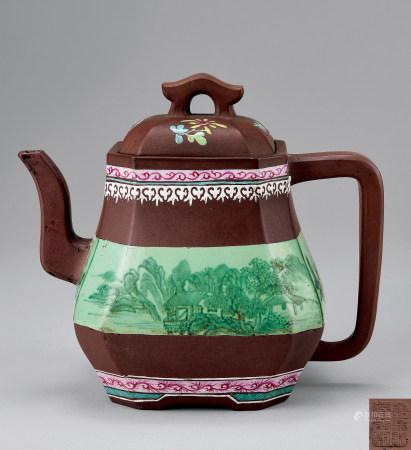 清紫砂加彩山水纹长方倭角壶