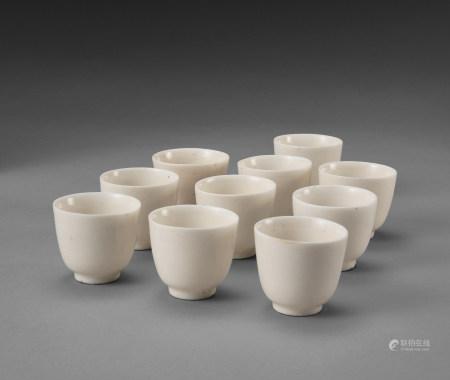 德化窑白磁煎茶碗十客