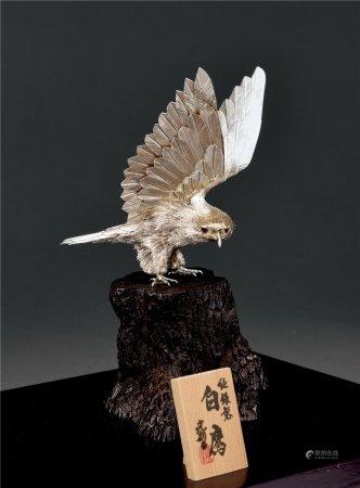 大渊武则作银製白鹰