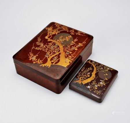 江户期莳绘梅月纹文具盒一组