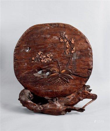 古木自然形诗文茶屏