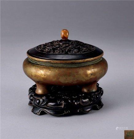 清铜鎏金香炉