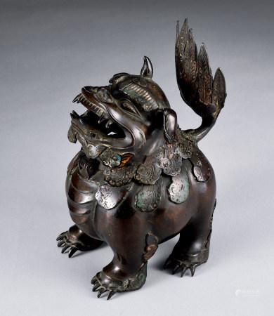 清初铜製珐琅狻猊形香薰
