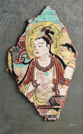唐加彩菩萨纹壁画残片