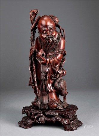 清黄杨木雕寿星像