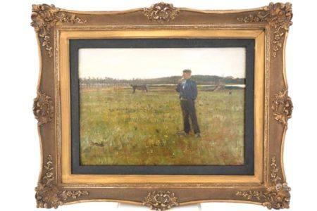"""Norddeutsches Gemälde """"Auf der Pferdeweide"""""""