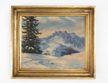 "Landschaftsgemälde ""Winterlandschaft mit Bergen"""
