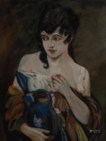"""Jugenstil Gemälde """"Dame mit Krug"""""""