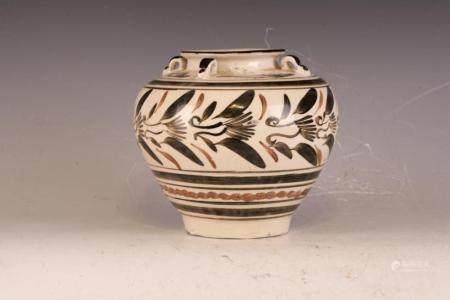 A pottery jar