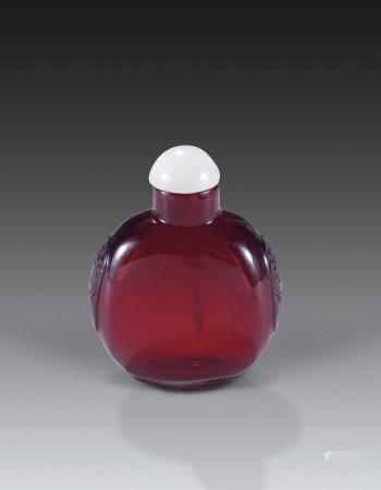 清乾隆宝石红琉璃鼻烟壶
