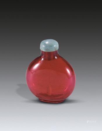 18世纪粉红色琉璃鼻烟壶