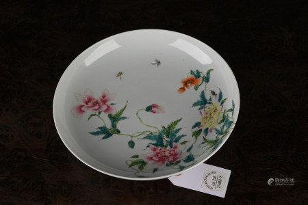 A FAMILLE ROSE 'floral' DISH. YONGZHENG PERIOD, QINGDYNASTY.