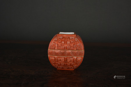 A FINELY CARVED GILT-DECORATED 'IMITATION LACQUER' WATER POT. QIANLONG PERIOD, QING DYNASTY.