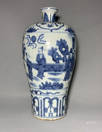A BLUE & WHITE 'figural' VASE, meiping. MING DYNASTY.