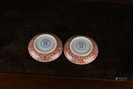 A PAIR OF IRON-RED-DECORATED WHITE PORCELAIN BOWLS. YONGZHENG PERIOD, QING DYNASTY.