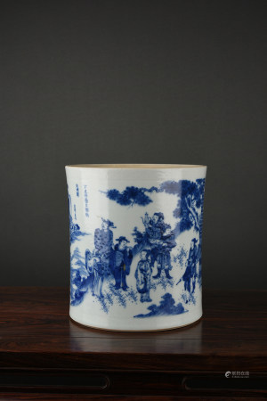A BIG BLUE & WHITE FIGURAL BRUSH POT. CHONGZHEN PERIOD, MING DYNASTY.