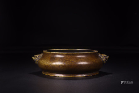 A CHINESE COPPER LION EARS INCENSE BURNER