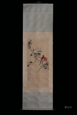 TIAN SHIGUANG: INK AND COLOR ON SILK PAINTING 'FLOWERS AND BIRDS'