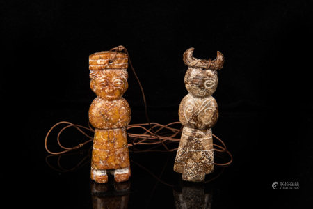 TWO JADE CARVED 'PEOPLE' ORNAMENTS