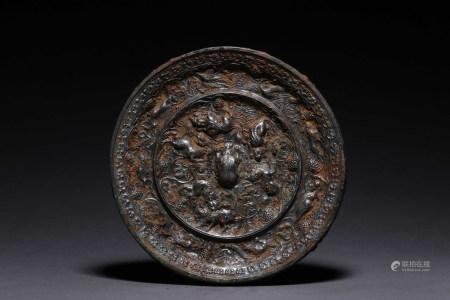 ARCHAIC BRONZE CAST 'MYTHICAL BEAST' MIRROR