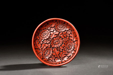 CINNABAR LACQUER CARVED 'FLOWERS' DISH