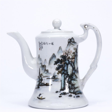袁林彩绘 秋山行旅图茶壶