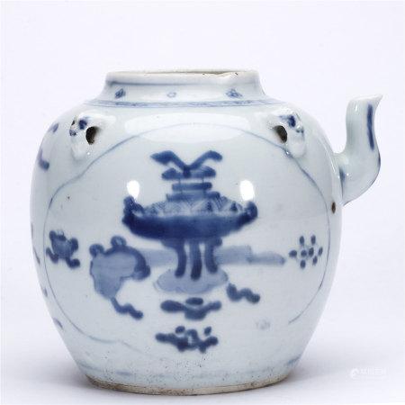 青花博古图兽首四系茶壶