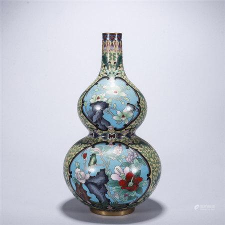 铜胎掐丝珐琅缠枝莲开光花鸟纹葫芦瓶