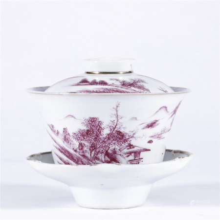 胭脂红釉山水纹诗文盖碗一套
