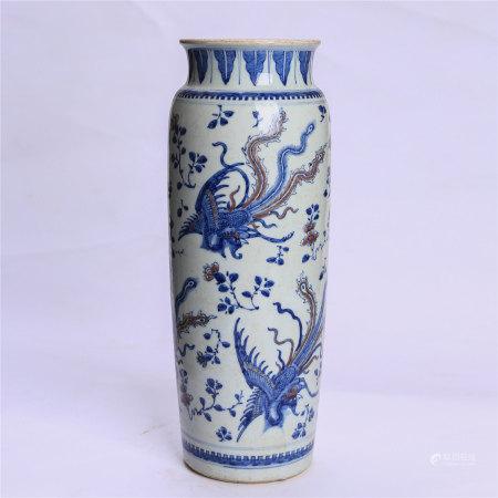 青花釉里红花卉凤鸟纹筒瓶