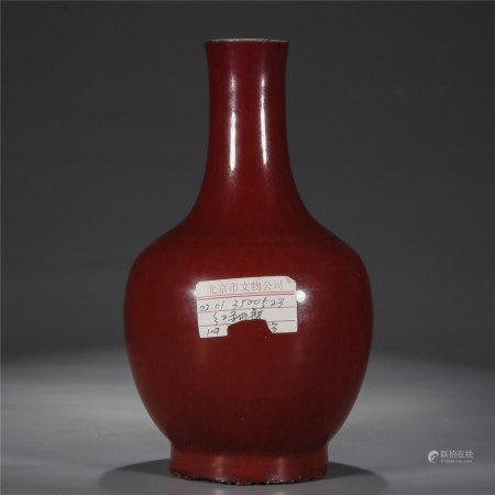 郎窑红釉天球瓶