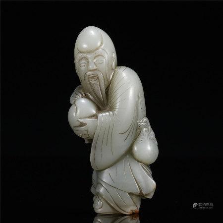 白玉圆雕寿星像
