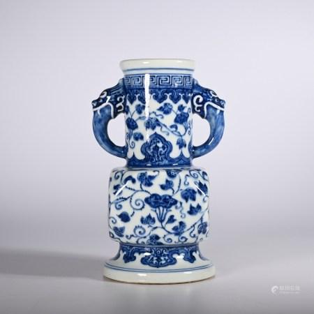 Qing Dynasty Yongzheng Blue and White Elephant Ear Zun