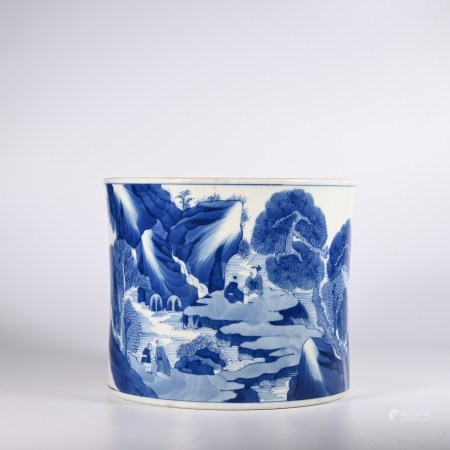 A blue and white landscape character pen holder in Kangxi, Qing Dynasty