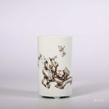 Qing Dynasty Qianlong Ink Color Poem Pen Holder