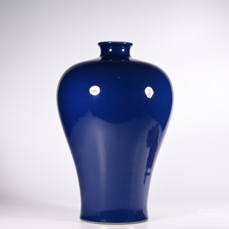 A blue-glazed plum vase from the Qianlong period of the Qing Dynasty